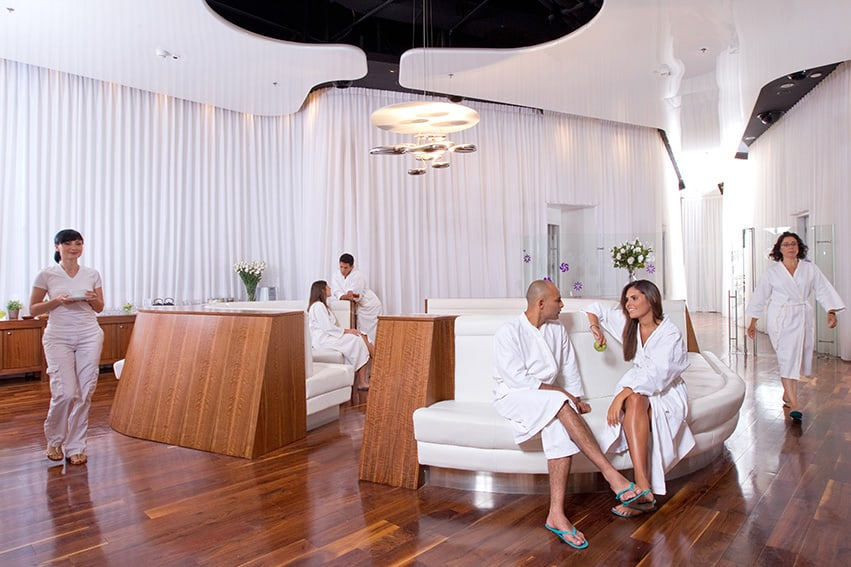 lifestyle, treatments and beauty photography for VIM Spa & health club. People relaxing at the Spa's spacious lobby