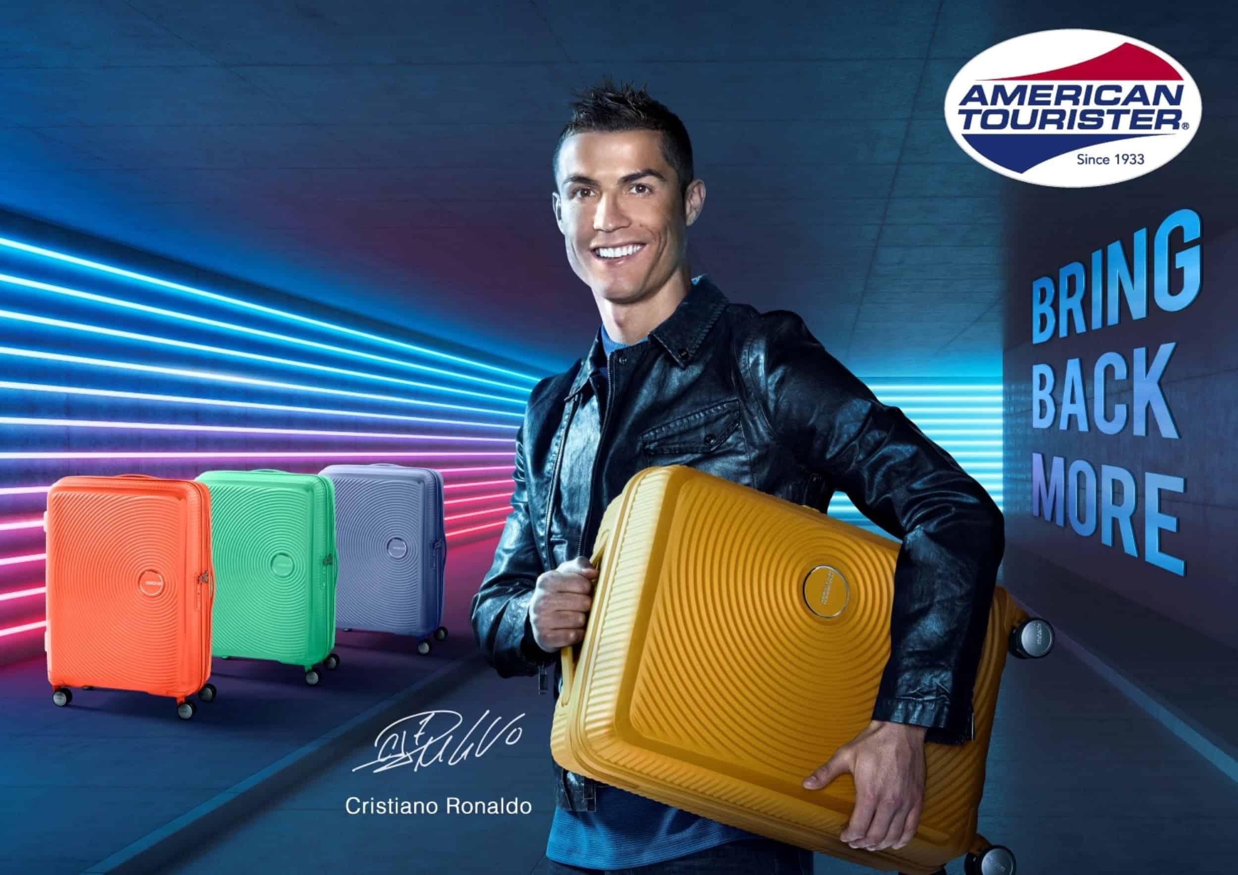 כריסטיאנו רונאלדו שגריר חברת אמריקן טוריסטר מבית סמסונייט קיץ 2018 עם סדרת המזוודות SOUNDBOX צילום יחצ (1)